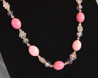 Pink Crystal Bead Necklace Vintage Crystal Flower Beads Hot Pink West Germany