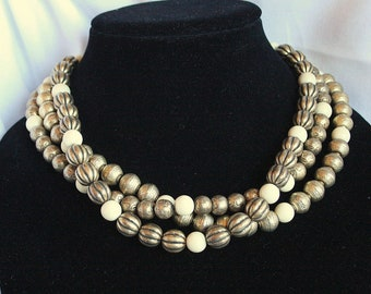 Cream Gold Bead Necklace Vintage Torsade Multi Strand Grooved Multistrand