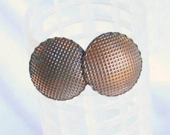 Antiqued Copper Earrings Vintage Domed Round Basket Weave Design Clip On