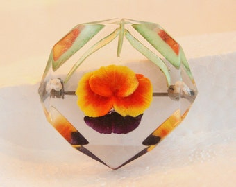 Acrylic Pansy Brooch Vintage Orange Purple Pin Colorful Flower in Clear Octagon