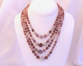 Amethyst Purple Glass Necklace Multistrand Vintage Art Glass Bib Multi Strands Silver Accents