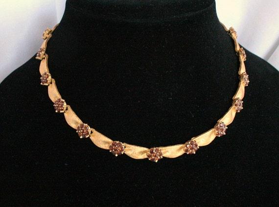 Vintage Trifari Topaz Rhinestone Necklace Gold Ribbon Adjustable Choker