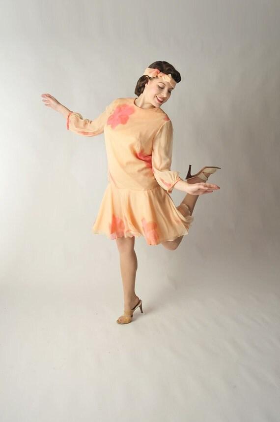 Vintage 1960s Dress - 1920s Style Floral Print Chiffon Dress