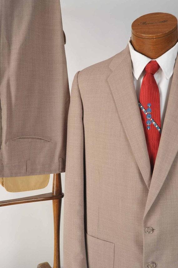 Vintage 1950s Suit // Lightweight Summer Suit with Patch Pockets and High Waist Slacks 42 L