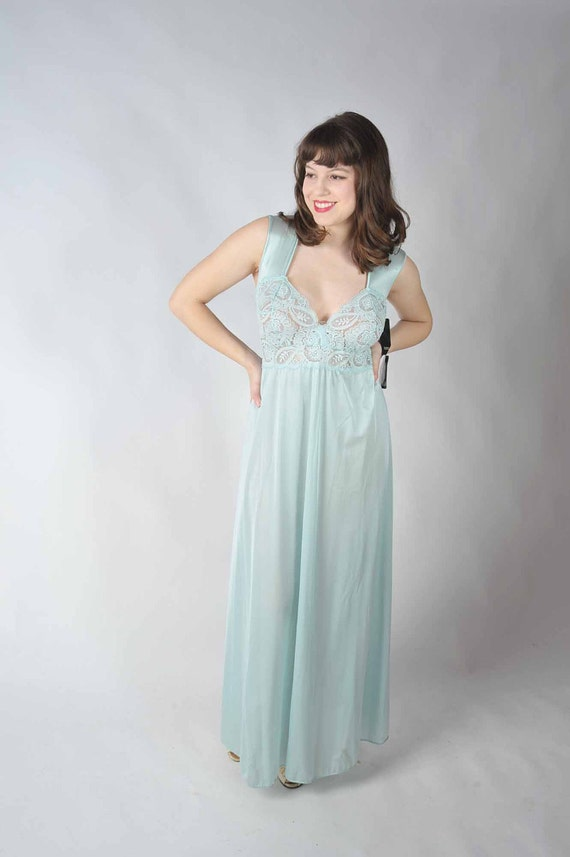 Vintage 1980s Nightgown - Rare New Old Stock 2xl Olga Nightgown with Deep Lace in Light Blue