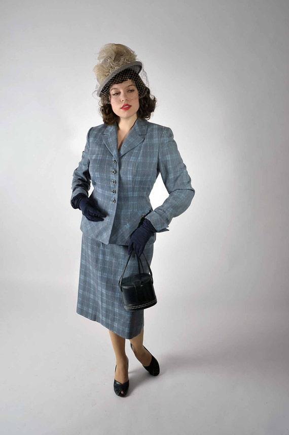 Vintage 1940s Suit - Tailored Soft Blue Plaid Wool Suit