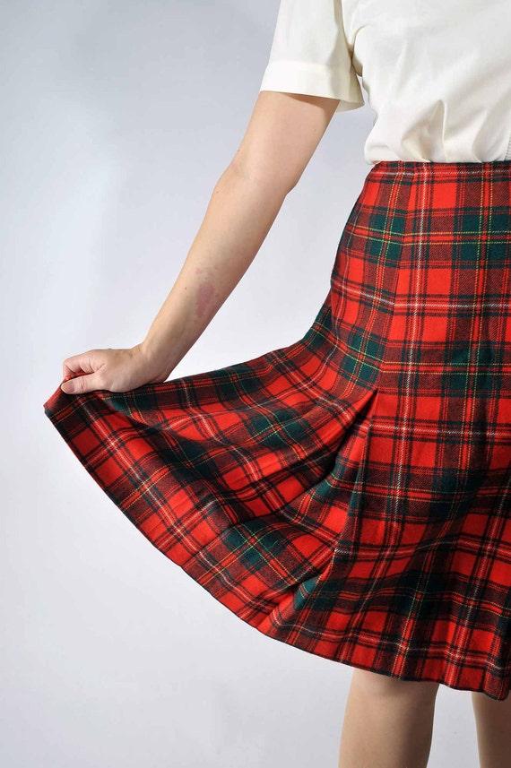 Vintage Pendelton Skirt // Red and GReen Classic Plaid Skirt