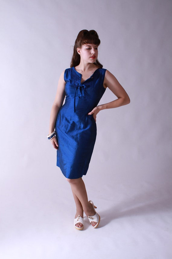 Vintage Early 1960s Blue Silk Wiggle Dress with Jacket