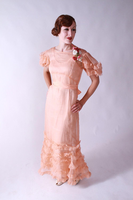 vintage 1930s sheer organdy garden party dress in peach