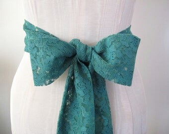 Vintage Lace Sash in Jade Green, Wedding Sash, Bow Belt, Bridesmaid Sashes, extra long length