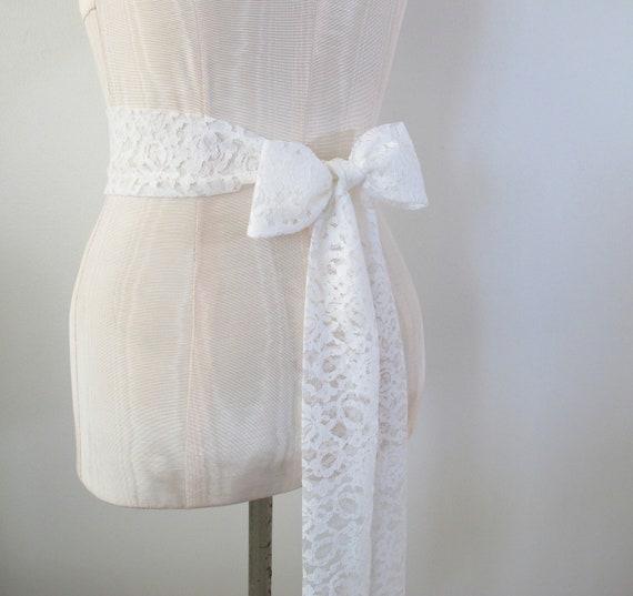 Soft Diamond White Lace Sash Wedding Sash Bridal Belt Vintage Lace Fabric  - made to order - limited