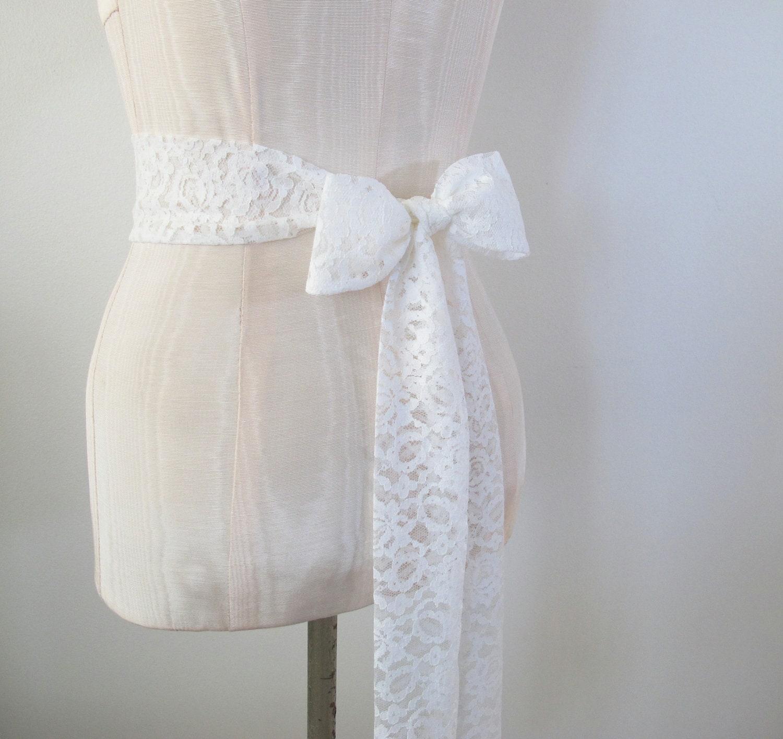 Soft diamond white lace sash wedding sash bridal belt vintage for Belt for lace wedding dress