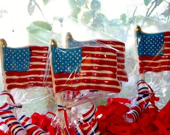 Chocolate American Flag Lollipops May 30, 2016 Memorial Day