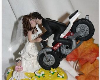 Wedding Cake Topper, Motorcycle Kissing Bride & Groom