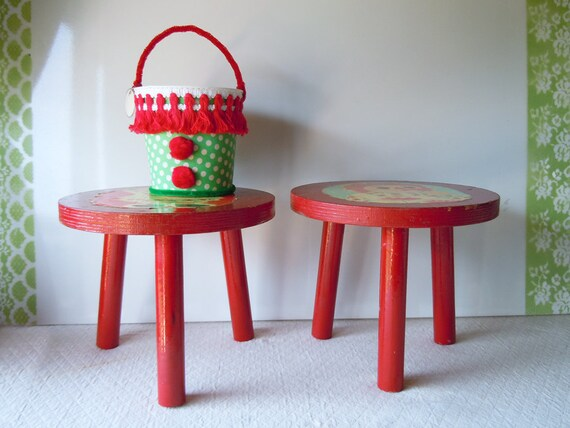 SALE Take 30% Off 1970 Red Wooden Stools Raggedy Ann