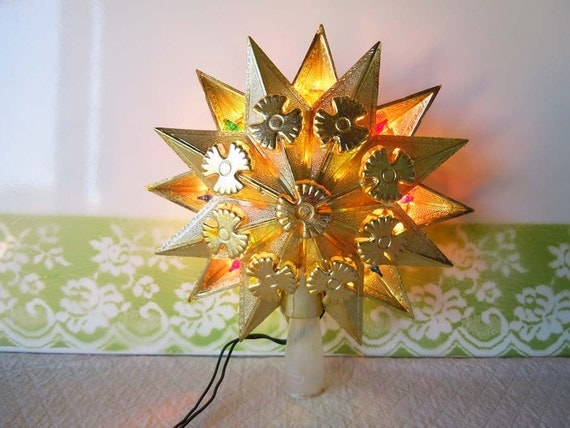 Vintage 1970 Star Christmas Tree Topper Gold Colored Lights