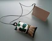 "textile fiber pendant, nightcloud, one of a kind, hidden message, ""poetry pillow"", precious words, amulet"