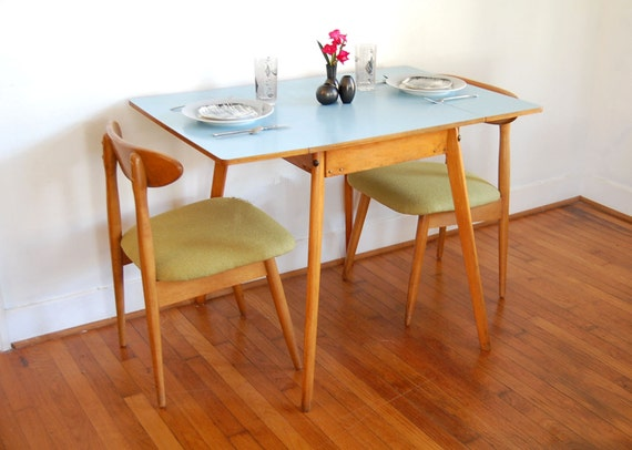 Vintage Mid Century Modern Desk Dining Table with Robin Egg : il570xN40306920731ke from etsy.com size 570 x 406 jpeg 46kB