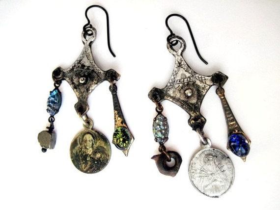 The Measured Universe. Cosmic Victorian Tribal Rustic Assemblage Earrings.