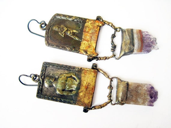 The Human, This Night. Rustic Cosmic Earrings with Antique Medals and Amethyst.