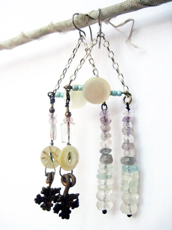 The Angel is Free. Antique Mop buttons and gemstone assemblage earrings.