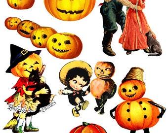 Halloween pumpkins jacko lantern vintage  clip art digital download collage graphics