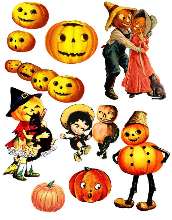 Items similar to Halloween pumpkins jacko lantern vintage ...