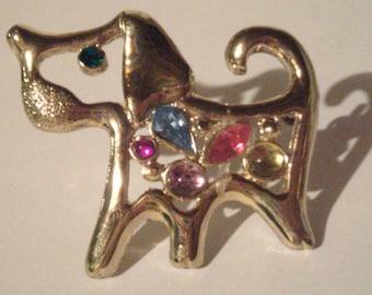 Jeweled Dog Brooch - Vintage Puppy Dog Pin - Vintage Dog Brooch - Jeweled Pin - Gold Tone Dog Pin