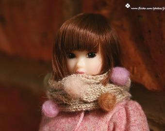 jiajiadoll-hand knitting-cream twist pompom Scarf fits Momoko Blythe Misaki Pullip Lati yellow YoSD