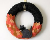 Black Cat Wreath, Halloween Wreath, Orange and Black Accent Wreath, 10 inch Size