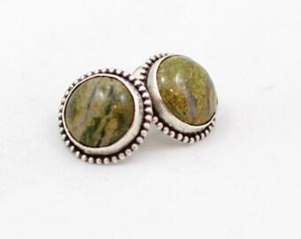 Green Jasper Bezeled Sterling Silver Earrings