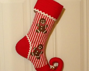 Christmas Stocking Appliqued with Gingerbread Men and Curly Elf Toe
