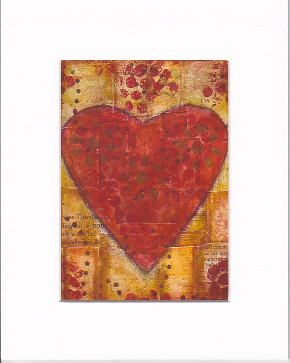 Mixed media red heart mounted print