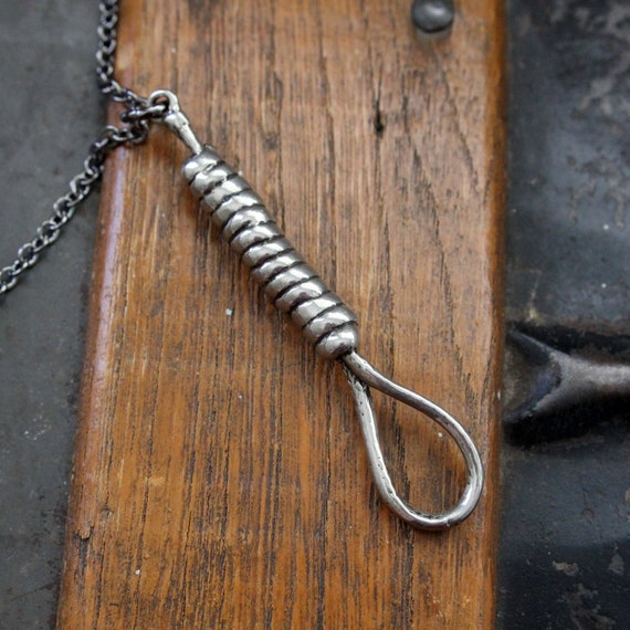 Silver Hangman's Noose Necklace Hangmans Knot Pendant