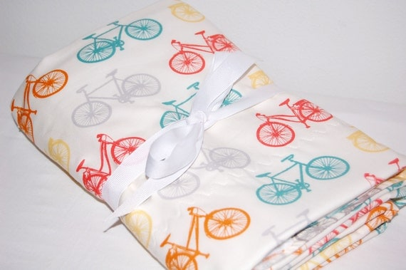 ORGANIC-- bicycles-- modern baby blanket- ready to ship