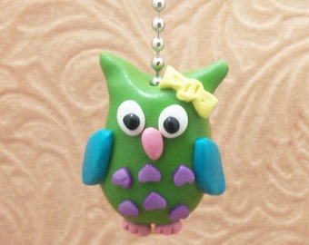 Owl Fan Pull - Green, Purple, Turquoise - Owl Nursery - Polymer Clay