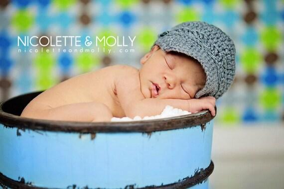 Crochet Newsboy Cap Photo Prop Newborn Size Hat Choose your color