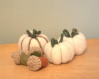 Felted white pumpkins set of 3 felt wool autumn fall table decorations farm rustic Halloween fall Weddings favors