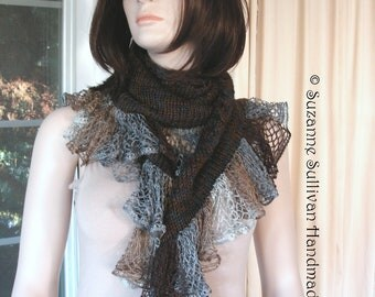 Knitted Shawl with Lace Ruffle, Hand Knitted Shawl, Knitted Ruffle Scarf, Browns and Grey