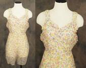 vintage 30s Teddy - Sheer Floral Lingerie - Gauze Playsuit Romper Sz L