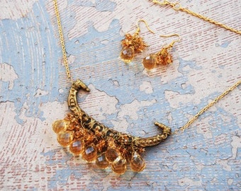 Citrine Necklace and Earring Set - Antique Hardware Collection