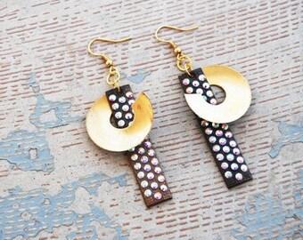 Art Deco Earrings - Rhinestone Starburst and Swirl Earrings - Industrial Revolution Collection