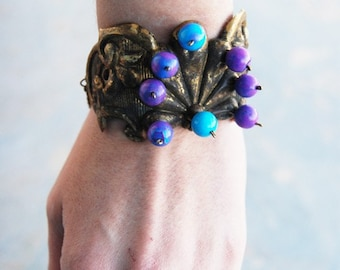 Turquoise Cuff Bracelet - Blue and Purple Turquoise Berries - Antique Hardware Collection