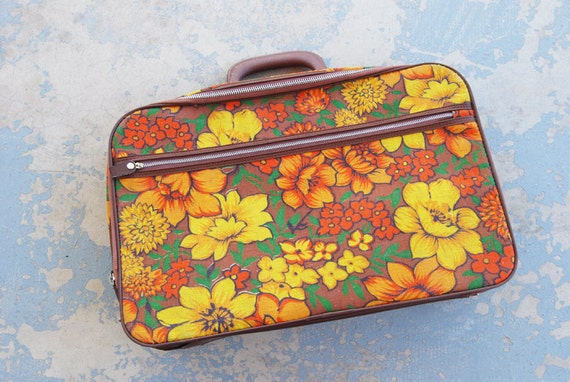 vintage 60s Suitcase - Medium Mod Orange Floral Canvas Weekend Bag