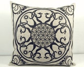 "Printed ""Star Flower"" 16x16 Natural linen pillow cover"