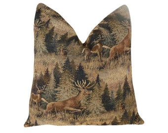 Wildlife Pillows, Deer Cushion Covers, Wilderness Man Cave, Rustic Throw Pillows, Earthy Greens Brown, Country Cabin Decor, 18x18, 20x20