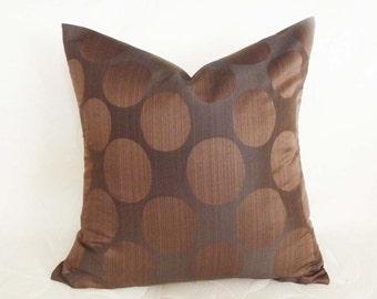 PILLOW SALE, Dark Brown Pillows, Large Dots Pillow, Modern Cushion Cover, 18x18, Unique Gift Idea Under 10