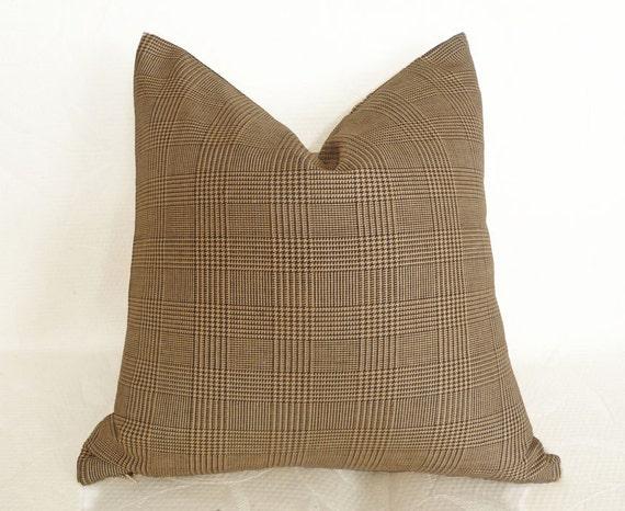 Brown Plaid Pillows Glen Plaid Throw Pillows By