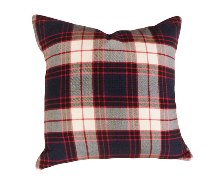 Tartan Plaid Throw Pillows Blue Green White by PillowThrowDecor