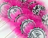 BUNCO Cupcake Toppers Pink Black and White Damask Custom handmade Original Design by Chocolatetulipdesign